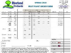 Order Form for Riverbend Orchards 2018Order Form for Riverbend Orchards 2018